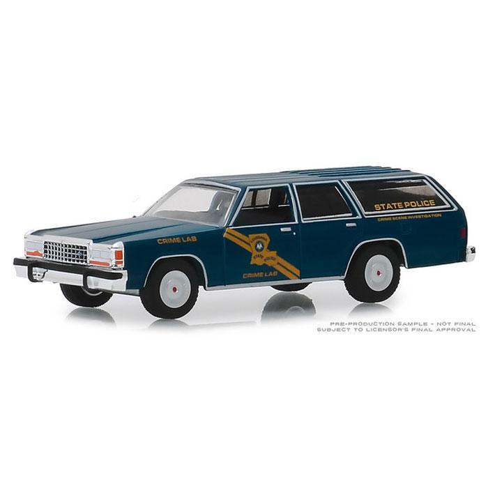 Ford LTD Station Wagon  Massachusetts POLICE  Hot Pursuit Greenlight 1:64 OVP
