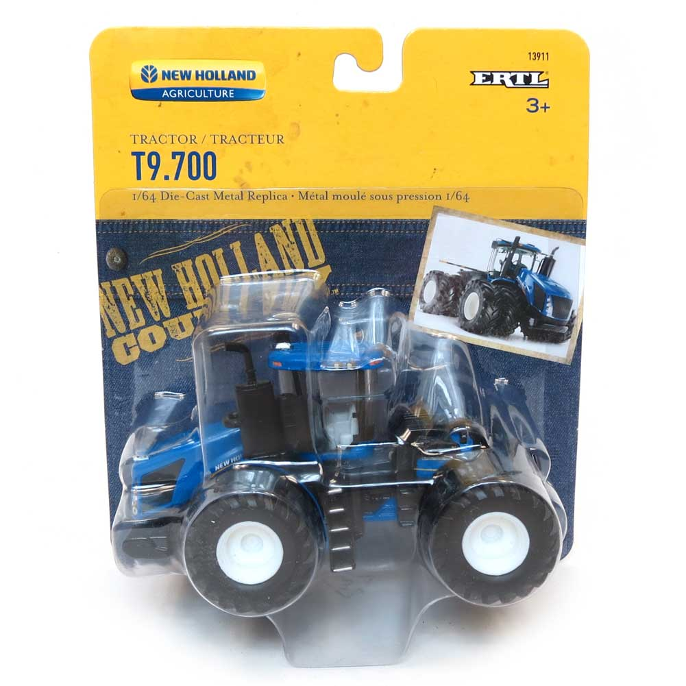 Brand New 1//64 New Holland T9.645 4wd tractor w// Grouser dozer dirt blade Ertl